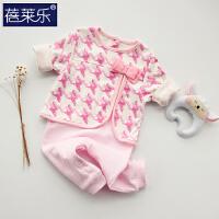 婴儿连体衣服宝宝新生儿哈衣0岁3个月棉衣6睡衣5春装爬服