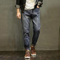 夏季男士牛仔裤韩版黑色宽松休闲长裤欧美简单加肥加大直筒裤子潮