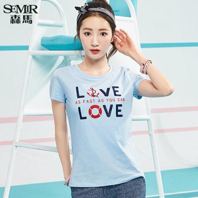 森马短袖T恤女夏装新款韩版圆领上衣刺绣印花学生打底衫T恤
