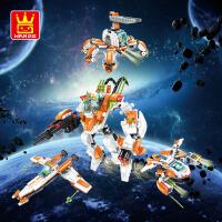 万格乐博士拼装积木玩具军事儿童益智拼插塑料高达变形机器人礼物