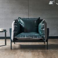 北欧头层牛皮羽绒真皮沙发组合复古工业风轻奢简约小户型三人沙发