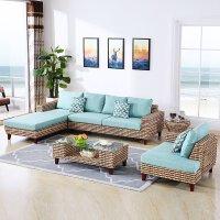 藤沙发组合客厅藤编家具懒人藤椅沙发单人实木户外藤编沙发 组合