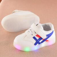 儿童运动鞋亮灯小白鞋男童皮鞋女童单鞋软底带LED灯夜光1-6岁