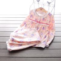 子女童睡衣套装 秋冬全绒布中大儿童长袖睡衣裤家居服套装 猫头鹰 粉色 全棉绒布