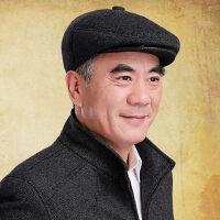中老年男士帽子爸爸护耳棉帽 经典时尚呢帽保暖鸭舌帽 老年人厚棉帽子