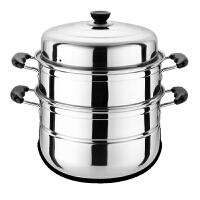 大蒸锅不锈钢三层加厚蒸笼家用商用蒸格汤锅双层煤气炉电磁炉锅具