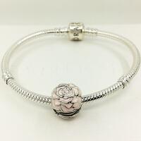 PANDORA潘多拉 粉色玫瑰花园925银珐琅固定夹791292EN40