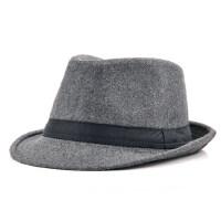 中老年帽子绅士英伦礼帽男 新款毛呢遮阳帽时尚爵士帽黑色绅士帽女