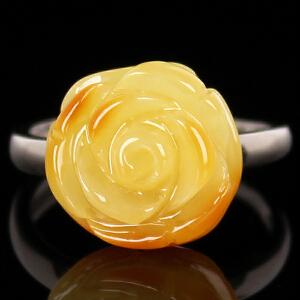 蜜蜡玫瑰花戒指 重量2.69g