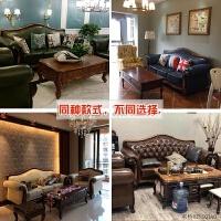 美式沙发乡村实木沙发复古客厅组合三人小户型欧式沙发整装