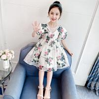 女童连衣裙夏装洋气夏季儿童短袖公主裙女孩碎花裙子