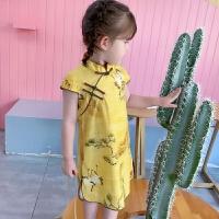 儿童唐装夏季印花仙鹤旗袍女孩中国风连衣裙宝宝汉服童装