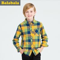 巴拉巴拉男长袖衬衫中大童冬装童装儿童格子衬衣男