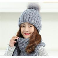 韩版女士大毛球 保暖点点毛线帽+围巾 仿狐狸毛球设计 甜美大方