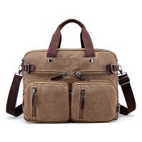 多功能男单肩帆布包大容量手提电脑包两用双肩包商务斜跨旅行背包 咖啡色