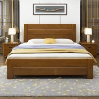实木床18米双人床主卧室15米单人床中式加厚高箱储物箱体木头床 1800mm*2000mm 箱框结构