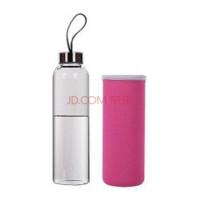 玻璃杯 耐热玻璃水瓶 密封水杯 带盖透明茶杯 送杯套 粉色 550ml