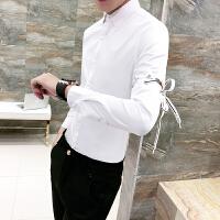 18春新款衬衫男个性可拆卸袖子七分袖衬衫男士韩版修身夜店男长袖