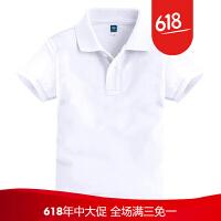 童�b男女夏�b白色大童T恤短袖T恤�和�定制polo衫短袖T恤LOGO