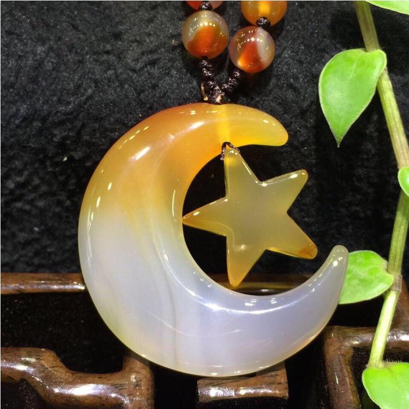 天然珠宝玉石俏色冰彩玉髄时尚项链项坠子、星月传奇!【TQYS-8(216)】