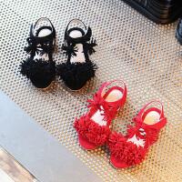 夏女童公主鞋流苏凉鞋儿童舒适平底鞋软底宝宝鞋