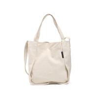 韩版潮帆布女包森系单肩手提包简约百搭托特包校园学生布包购物袋 白色