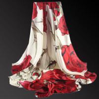 重磅真丝围巾冬天礼盒装丝巾女桑蚕丝超大方巾
