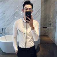 秋季新款男士长袖衬衫韩版修身时尚线条包边英伦发型师白色衬衣潮