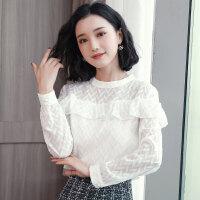 衬衫 女士立领时尚韩版长袖上衣2019秋季新款女士波浪边几何花纹雪纺衫