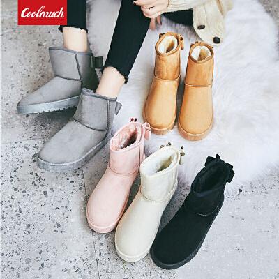 【领券立减50元】Coolmuch女棉鞋2019新款简约百搭加绒保暖雪地靴中筒休闲棉靴YCG22 你的名字是世界上最温暖的诗