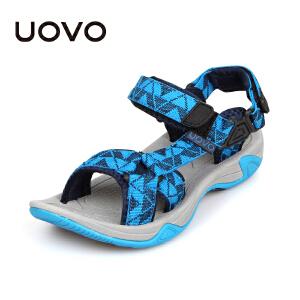 UOVO儿童凉鞋新款夏季小大童男童凉鞋露趾男童沙滩鞋潮男童鞋软底 雨林