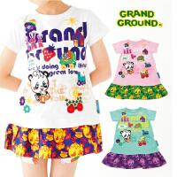出口剩余2018夏 潮牌女童刺绣卡通熊猫乐园贴布拼接 短袖连衣裙