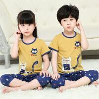 夏季儿童睡衣夏天女童装套装男孩薄款纯棉男童宝宝空调家居服短袖