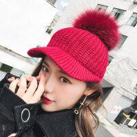 韩版潮时尚百搭休闲毛线针织保暖兔毛球球鸭舌帽帽子女可爱