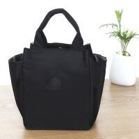 提饭盒的手提包时尚多功能便携手拎饭包带娃出门妈咪包布艺饭盒袋 黑色-不可挎