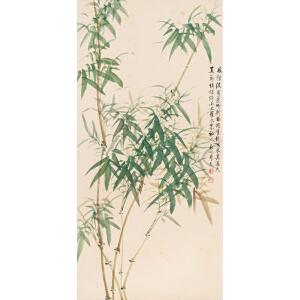 X2756启功《翠竹》(北京文物公司旧藏、原装旧裱满斑。)