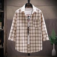 七分袖衬衫男2020夏季新款中袖衬衫商务休闲格子衬衣