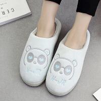 棉拖鞋女厚底情侣秋冬季家居家用韩版室内包跟冬天毛毛托鞋可爱