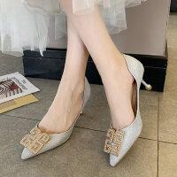 户外法式少女细高跟鞋时尚尖头性感水钻凉鞋女仙女风
