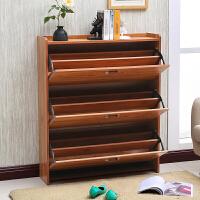 超薄翻斗鞋柜17cm多功能简约现代大容量经济型省空间实木色门厅柜 组装