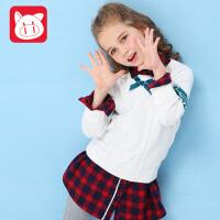 小猪班纳童装儿童毛衣套头2018秋冬新款中大童圆领上衣女童针织衫