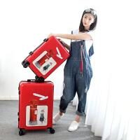 复古拉杆箱女小清新行李箱韩版万向轮密码箱20寸24可爱学生旅行箱 红色 20寸