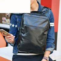 时尚双肩包男士复古韩版背包学生书包潮流男包休闲旅行软皮电脑包 棕色