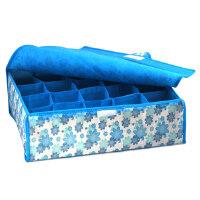 卡秀 蓝色小花20格软盖收纳盒36*29*11cm