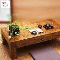 老榆木中式炕桌小茶桌榻榻米茶几家用实木飘窗桌阳台小矮桌子炕几