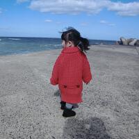 加绒加厚毛衣外套 女童洋气外套秋冬款儿童洋气中长款毛衣