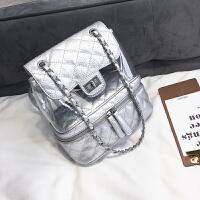 双肩包女2018新款潮时尚学生书包韩版菱格复古背包大容量链条书包