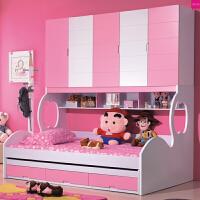 韩式粉色衣柜床双层床青少年女孩卧室家具儿童床