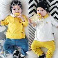 婴儿春秋长袖上衣男全棉T恤女童0-1岁3-6-12个月春季新生宝宝衣服