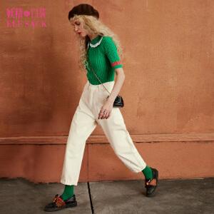 【尾品汇大促】妖精的口袋爵士爱情秋装新款宽松复古直筒九分裤休闲裤女